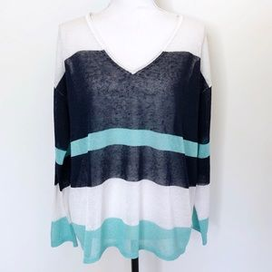 525 America Linen Sweater Striped V Neck Thin Knit